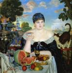 Kustodiev B. Merchant's Wife at Tea. 1918
