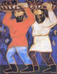 Goncharova N. Peasants. From the Picking Grapes nine-part polyptych. 1911