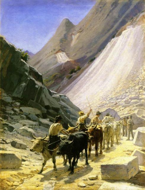 Ге Н.Н.  Перевозка мрамора в Карраре. 1868.