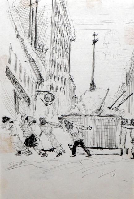 Хигер Е.Я. Убирают снег. Блокадные зарисовки. 1942