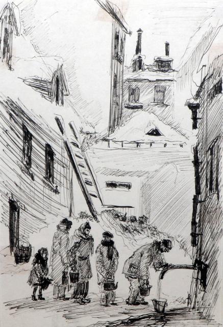 Хигер Е. Я. У колонки. Блокадные зарисовки. 1942