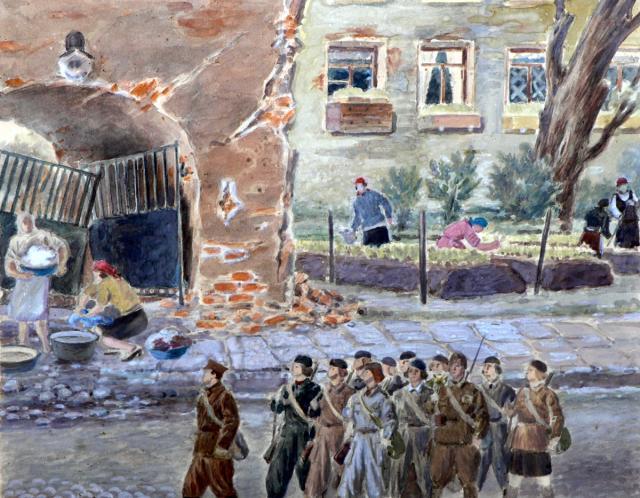 Григорянц П.П. На 4-й линии Васильевского острова. 1943