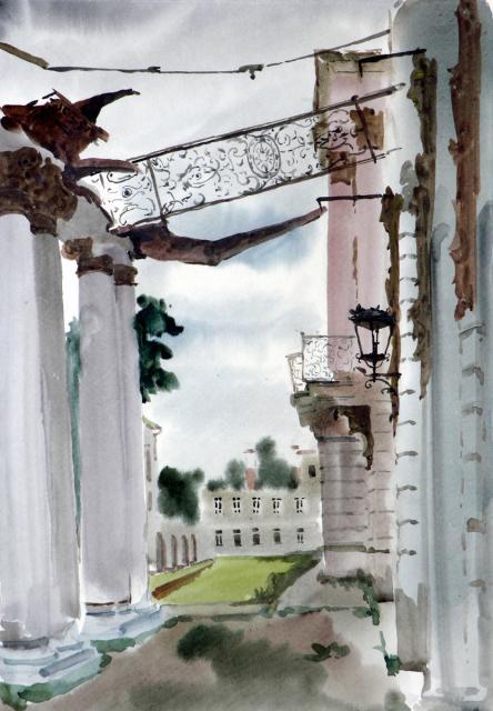 Ведерников А.С. Разрушенный балкон дворца в Пушкине. 1945